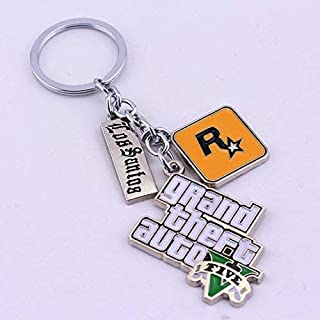 Liz Collection Inspired by Game PS4 GTA V Grand Keychain Theft Auto 5 Keychain PC Rockstar Keyring for Men Boys Gift Jewelry Llavero for Fans (1)