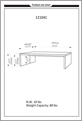 Convenience Concepts Designs2Go Small TV/Monitor Riser, Black