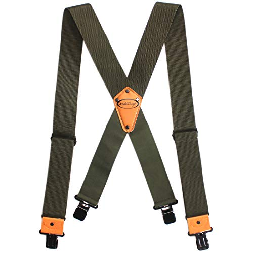 Melo Tough Men's Industrial Strength Suspenders Partial Elastic Tradesperson's Suspenders 2 inch Wide Tool Belt Suspenders (Army Green)