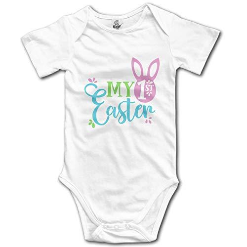 Klotr Unisexe Body Bébé Garçon Fille My 1st Easter Newborn Bodysuits Manche Courte Combinaisons et Barboteuses Set