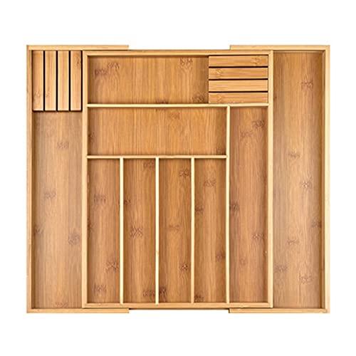 Bandeja de organizador de cajones Bambú Ajustable Cocina Utility Drawer Organizer Utensil Divisor Divisor Divisor de organizar cubiertos Bandejas de cubiertos ( Color : Natural , Size : 33-49x43cm )