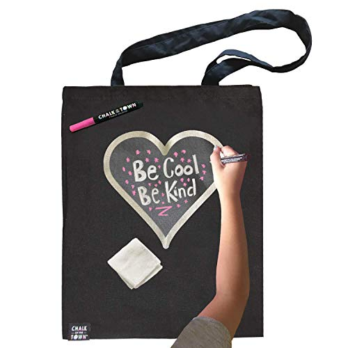 Chalk of the Town Personalized Chalkboard Canvas Tote Bag, Silver-Lined Heart (Black)