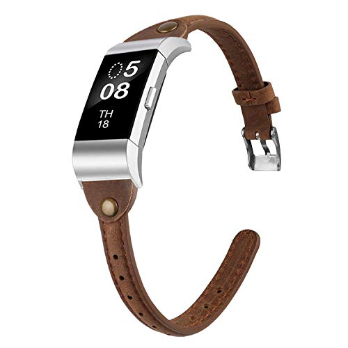Wearlizer Slim Guneine Leather Watch Band Compatible with Fitbit Charge 2, Charge 2 hr Accessories Replacement Wristband Srap Bracelet For Men Women Small Large T Type Deep Scrub Brown