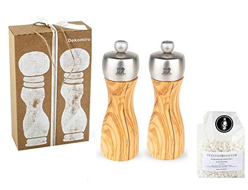 Peugeot Set Fidji zoutmolen en pepermolen 15 cm olijfhout Dekomiro cadeauset met 100 gram Zout.