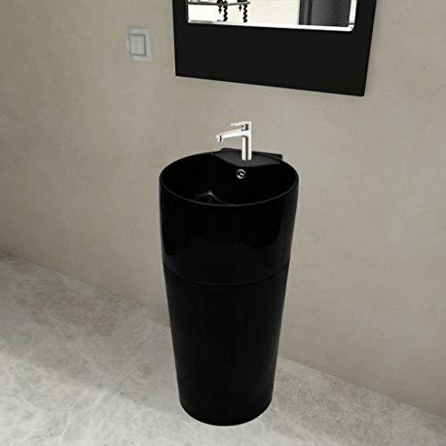Taofuzhuang keramiek staande wastafel met kraan/overloopgat zwart rond doe-het-zelvers keuken- en sanitaire voorzieningen sanitair keramiek & armaturen wastafel & spoelen badkamerwasbak