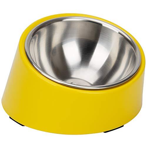 Super Design - Comedero con ángulo de inclinación de 15 grados para perros y gatos. Comedero para mascotas antideslizante y antiderrames, y fácil para coger la comida