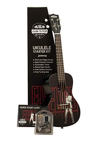 Kala Aprende a jugar Elvis Viva Las Vegas Kit de iniciación para ukelele de concierto (KALA-LTP-C-ELV)