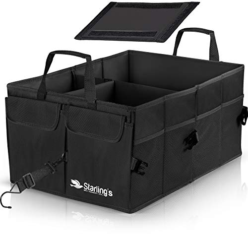 Starling's Car Trunk Organizer - Super Strong, Foldable Storage Cargo Box for SUV, Auto, Truck - Nonslip Waterproof Bottom, Fits any Vehicle, Come w/ Adjustable Tie-Down Straps (Black, 2 Compartments)