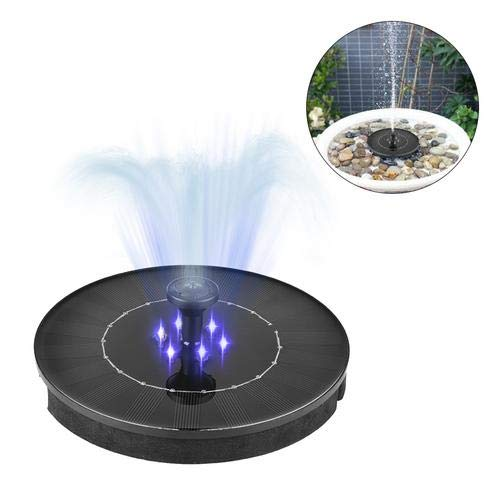 CatcherMy Springbrunnen Solar Garten 2.4W Mini LED wasserdichte Solar Teich Panel Brunnenpumpen Outdoor Mit Power Speicherfunktion Für Teich Garten Vogelbad Gartenteich