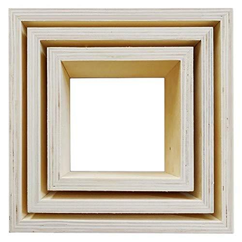 Youdoit 3 pequeños estantes de Madera Cuadrados 22 x 22 x 8 cm