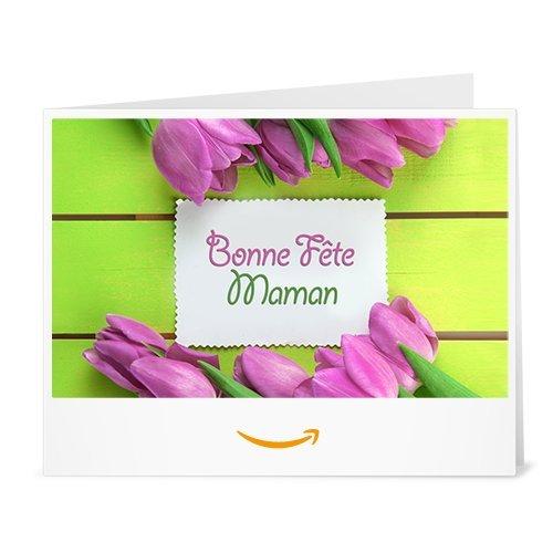 Chèque-cadeau Amazon.fr - Imprimer - Tulipes pour la Fête des Mères