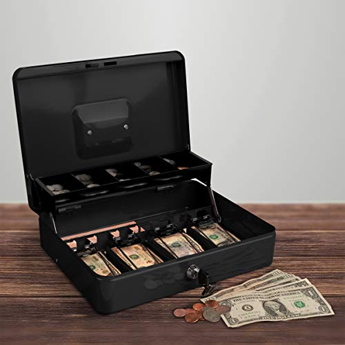 Stalwart Cash Box – Locking Steel Petty Cash Safe with Coin Tray and Spring-Loaded Money Clips for Yard Sale, Market and Concession Stand (Black)