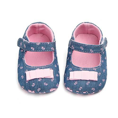Unisex-Baby-mädchen-Baumwollschuhe Antiskid Sole-Blumen-drucken Magie Aufkleber Indoor Prewalker Schuhe Sneaker Rosa 13cm