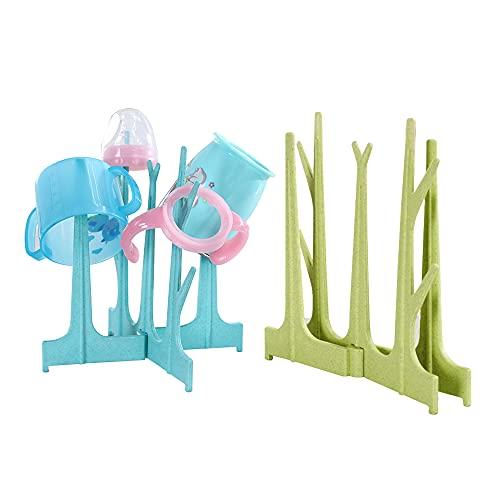 2Pcs Baby Bottle Drying Rack, Foldable Bottle Drainer,Tree-Shaped Water Bottle Dryer Rack, Multifunctional Tissue Rack, Jewelry Rack,Water Cup Keychain Storage Rack Blue + Green