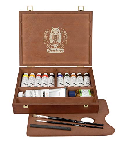 Schmincke - MUSSINI feinste Harz-Ölfarben Premium Holzkasten Ölmalerei, 10 x 35 ml Set, 70 213 097, nussbaum-gebeizt, Zubehör: Weiß 150 ml, Zeichenkohle, 2 daVinci Pinsel, etc.