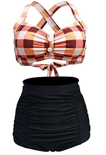 LA ORCHID Laorchid Rockabilly 1950s - Traje de baño para mujer (cintura alta, sin plancha, a cuadros) Rejilla de color naranja y blanco. 40