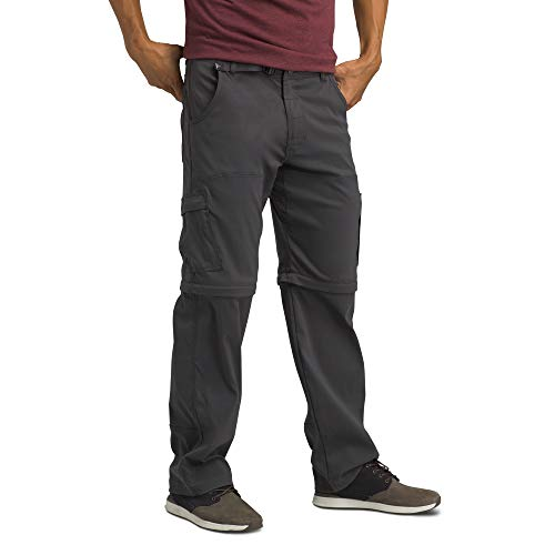 prAna - Men's Stretch Zion Convertible Water-Repellent Pants for Hiking and Everyday Wear, 32' Inseam, Charcoal, 36