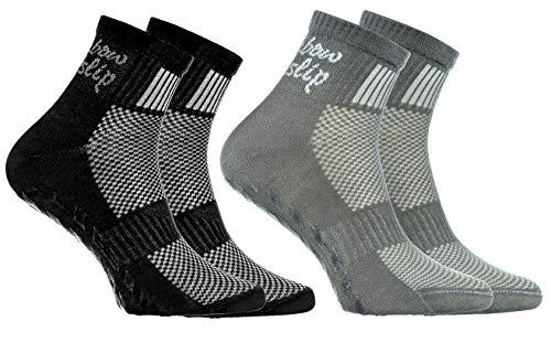 Rainbow Socks - Niño Niña Deporte Calcetines Antideslizantes ABS de Algodón - 2 Pares - Negro Gris - Talla 30-35
