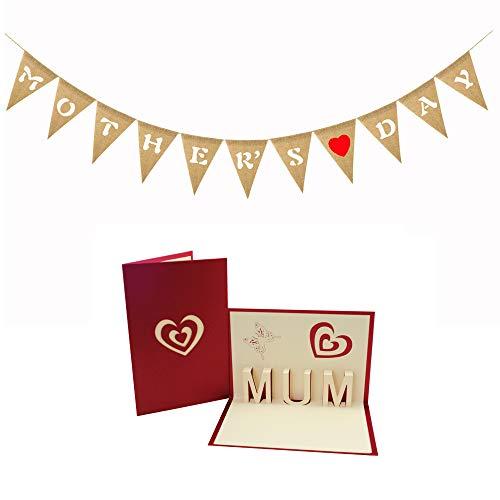 boshiho Pancarta de cumpleaños del día de la Madre con el día de la Madre Tarjeta emergente 3D Banderas de arpillera Decoraciones Colgantes para artículos de Fiesta