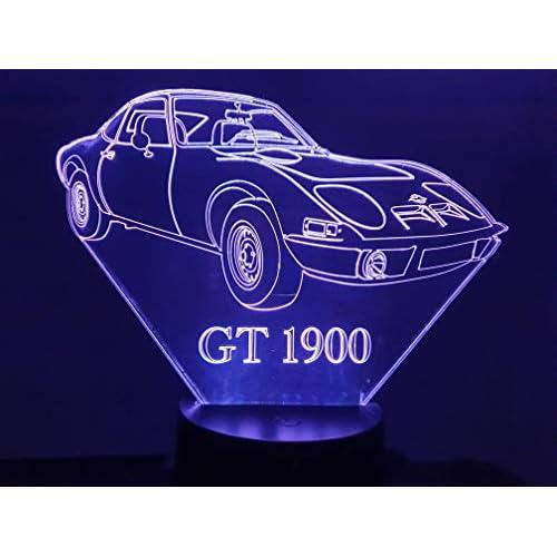 OPEL GT 1900, Lampada illusione 3D con LED - 7 colori.