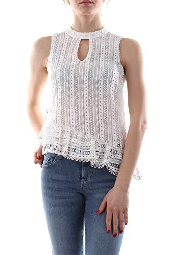 Guess asymmetrische blouse, geperforeerd, wit.