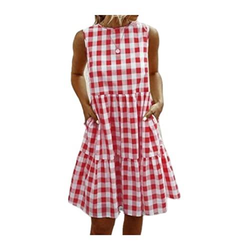 N\P Vestidos de cuadros para las mujeres de verano casual suelto vestido midi femenino