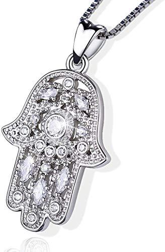 Hamsa Hand Halskette, 925 Sterling Silber Anhänger Schmuck für Frauen Männer, Vintage Hand der Fatima Evil Eye Anhänger, Heilige Lotus Charme Frauen Weg der Symbole Freundschaft