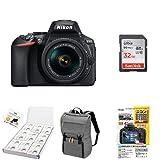 Nikon デジタル一眼レフカメラ D5600 AF-P 18-55 VR レンズキット ブラック D5600LKBK + アクセサリー4点セット(SDカード 32GB、カメラリュック、液晶保護フィルム、レンズクリーニングティッシュ)