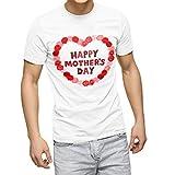 igsticker プリント Tシャツ メンズ L size おしゃれ クルーネック 白 ホワイト t-shirt 012949 母の日 カーネーション 花