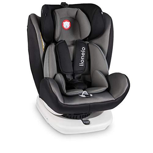 Lionelo Bastiaan Kindersitz Auto Kindersitz Isofix und Top Tether Kindersitz Drehbar um 360 Grad Autositz Gruppe 0 1 2 3 ab Geburt bis 36 kg TÜV SÜD ECE R 44 04 (Grau)