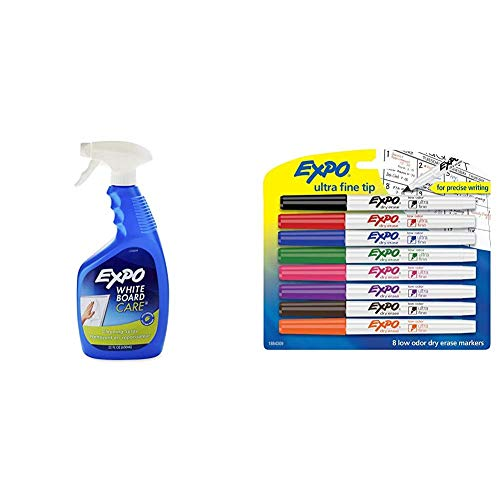 EXPO Whiteboard / Dry Erase Board Liquid Cleaner, 22-ounce & 1884309 Low-Odor Dry Erase Markers, Ultra Fine Tip, Assorted Colors, 8-Count