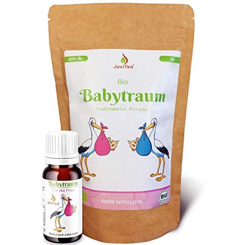JoviTea® Babytraum BIO Tee + Homöopathische Globuli – Traditionelle Rezeptur - spezielle Kräutermischung – aus kontrolliert biologischem Anbau. 100% natürlich -10g Globuli 75g Tee