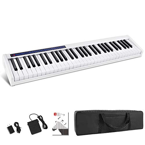 Vangoa VGD611 Piano Keyboard 61 Keys, Touch Sensitive Portable Electronic Keyboard with Bluetooth, Rechargeable with Sustain Pedal Padded Bag, for Beginners Adults Kids, White