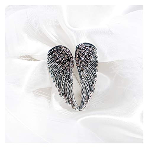 WanXingY 1 Pcs Vintage Angel Wings Rhinestone Brooch Pin Clothes Decoration Unisex Luxury Exquisite Brooch Glitter Alloy Collar Pin (Color : Black)