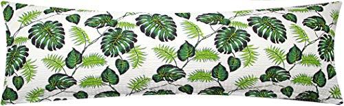 Seersucker Seitenschläferkissen Bezug 40x145cm - Tropische Blätter in Grün und Weiß - Öko-Tex 100% Baumwolle Stillkissenbezug (S-031/1-Grün)