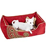 Blueberry Pet Heavy Duty Microsuede Overstuffed Bolster Lounge Dog Bed, Removable & Washable Cover w/YKK Zippers, 34' x 24' x 12', 11 Lbs, Tango Red Embroidered Paisley Beds for Cats & Dogs