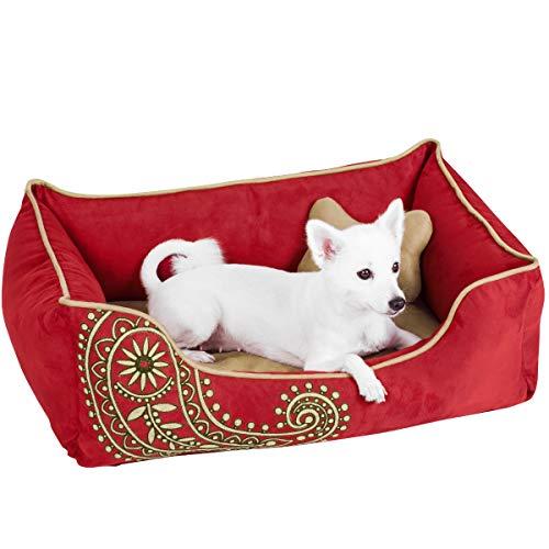 Blueberry Pet Microsuede Hundebett, Abnehmbare und waschbare Abdeckung w/YKK Reißverschlüsse, 86cm x 60cm x 30cm, 11 Lbs, Tango rot Bestickt Paisley Betten für Katzen und Hunde