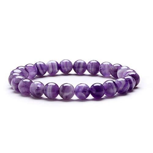 J.Fée Beads Bracelet, Natural Stone Bracelet for Women Banded Amethyst Crystal Bracelet for Healing Gemstone Bracelet for Calming Positivity Anxiety Bracelet for Prosperity Gift for Valentine