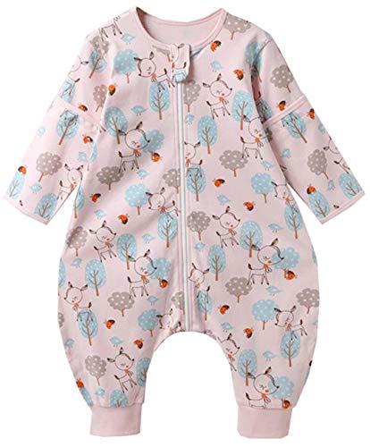 Chilsuessy Baby Schlafsack mit Füße 1 Tog Ganzjahres Schlafsack mit abnehmbaren Ärmeln für Säugling Kinder 1-4 Jahre alt 100% Baumwolle Sommer Schlafsäcke, Rosa Wald, XL/Baby Höhe 105-115cm