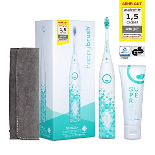 happybrush® Elektrische Schallzahnbürste | Elektrische Zahnbürste Schall VIBE 3 Weiß mit Aufsteckbürste, Travelcase & Teeth Whitening Zahnpasta für Weiße Zähne