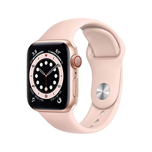 Apple Watch Series 6 GPS + Cellular, 40mm Gold Aluminium Case with Pink Sand Sport Band - Regular (Renewed)