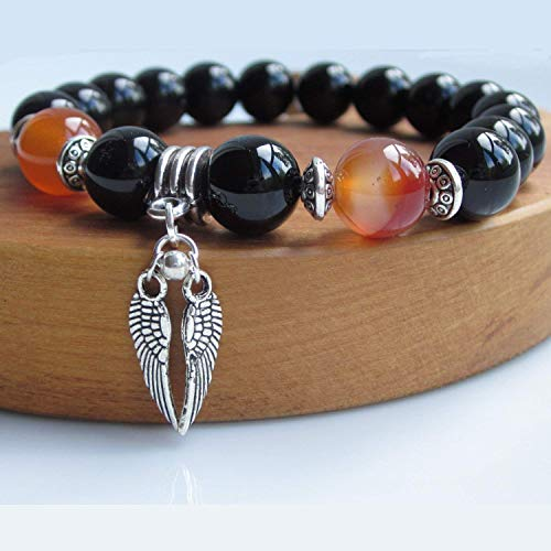 Mens Angel Wing bracelet with Black Onyx and Carnelian