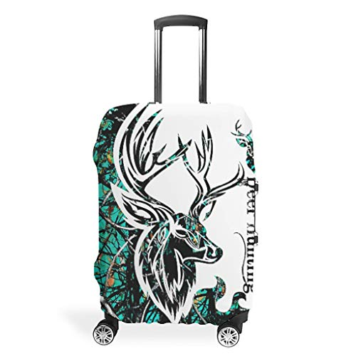 Deer Hunting CAMO Digital Print Various Patterns Suitcase Protective Cover Washable 19 to 32 Inch for Journey White l (66x96cm)