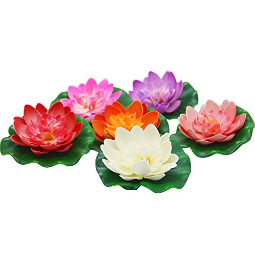 Happy Trees Artificial Floating Foam Lotus Flower with Water Lily Pad, Lifelike Ornanment Perfect for Home Garden Pond Decoration, 12 Pack