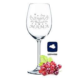 Leonardo Weinglas mit Gravur Engel ohne Flügel nennt man Mama Geschenk für Mama Muttertags Geschenk als Rotweinglas Weißweinglas