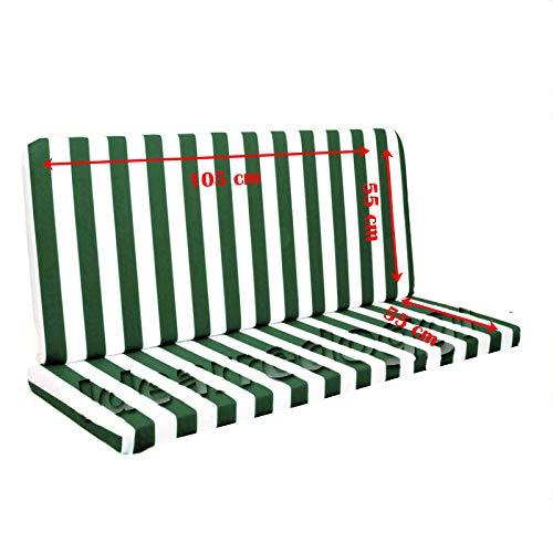Buonocore Aldo 'Nuove Idee' Cuscino per Dondolo 2 posti lastra 110 Cm Bianco/Verde