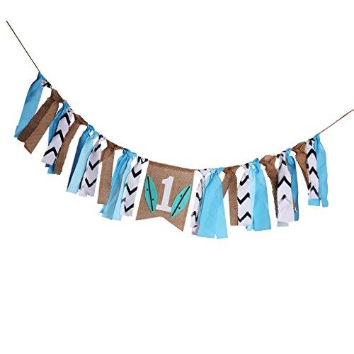 LOVIVER Rustic Rag Banner Baby Birthday HighChair Garland Ballon Decoration Photo Prop - 8