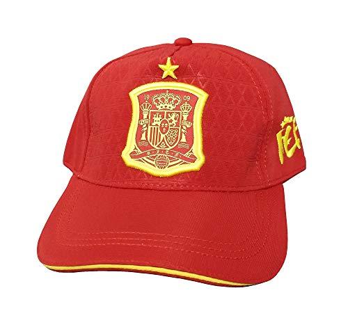 DRAPS Gorra Roja Adulto - Escudo Amarillo España y Estrella de Campeón del Mundo