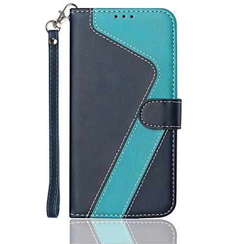 HEIGOU - Funda para Samsung Galaxy J7 2018, de piel sintética, con ranuras para tarjetas, soporte integrado y cierre magnético, diseño angular, color azul