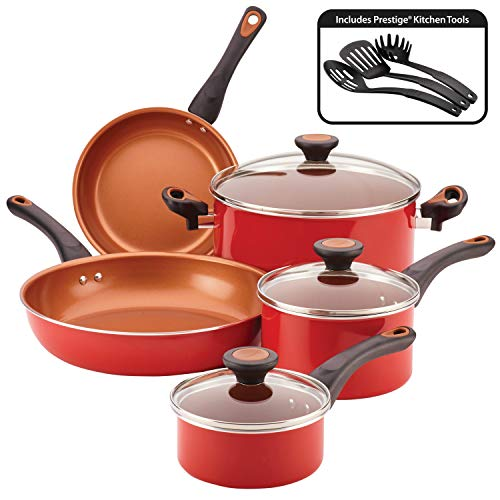 Farberware Glide Ceramic Nonstick Cookware Pots and Pans Set, 11 Piece, Red